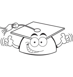 Cartoon graduation cap giving thumbs up vector