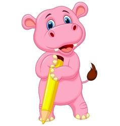 Cute hippo cartoon holding yellow pencil vector