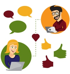 Online dating man and woman app icons in hipster vector