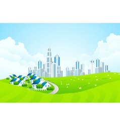 Green landscape with city line and cottage village vector