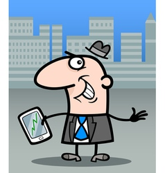 Businessman with tablet pc cartoon vector