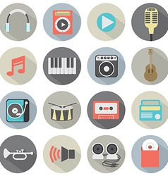 Flat design musical icons vector