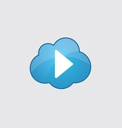 Blue cloud play icon vector