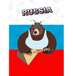 Russian bear plays a musical instrument the flag vector