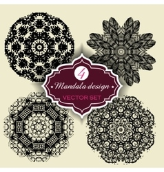 Set of ornament round mandalas geometric circle vector