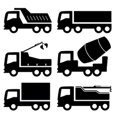 Industrial trucks icons set vector