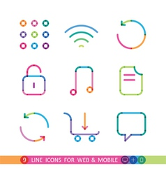 Set from 9 color icons for web and mobile vector