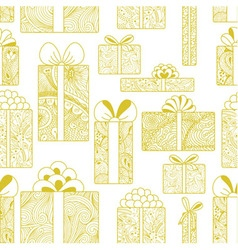 Seamless gift boxes pattern on white background vector