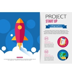 Business start up rocket infographics vector