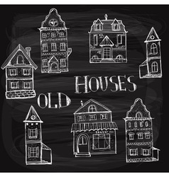 7 old styled houses vector