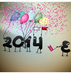 Funny 2014 new years eve greeting card vector