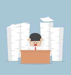 Tired and busy businessman with piles of work vector