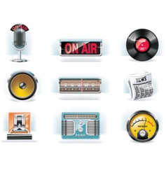Radio icon set white background vector