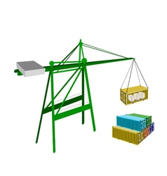 Cargo container being hoisted by a crane vector