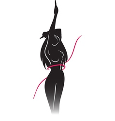 Silhouette of slender girl and ribbon vector
