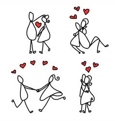 Cartoon character happy lovers vector