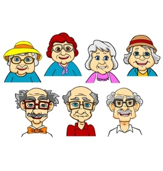 Cartoon smiling senior peoples characters vector