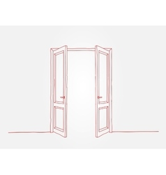 Red contour doors vector