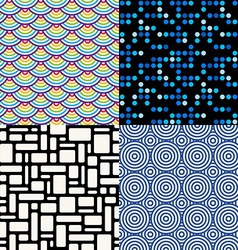 Seamless patterns set 6 abstract geometric vector