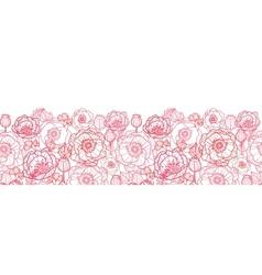 Poppy flowers line art horizontal seamless pattern vector