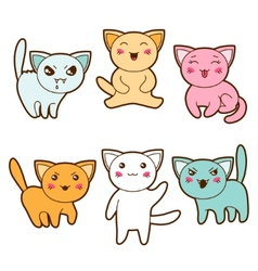 Set of kawaii cats with different facial vector