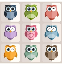 Owls stickers vector