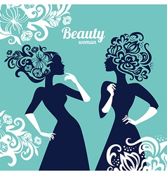 Beautiful women silhouette with flowers vector