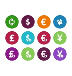Exchange rate circle icons on white background vector