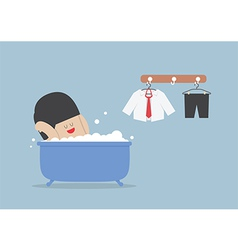 Businessman taking a bath and relaxing in bathtub vector