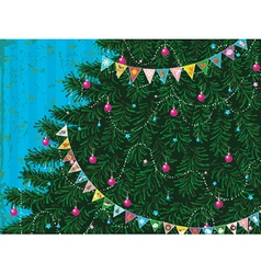 Christmas tree with garland vector