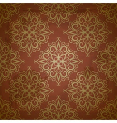 Seamless floral golden pattern on red grungy backg vector