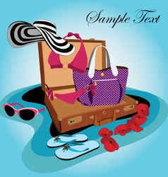 Travel suitcase for young lady vector