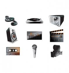Music audio icon set vector