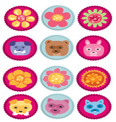 Badge with animals and flowers vector