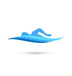 Freestyle swimmer silhouette with water pool waves vector