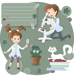 Children in biology class vector