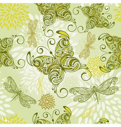 Seamless pattern with butterflies dragonflies and vector
