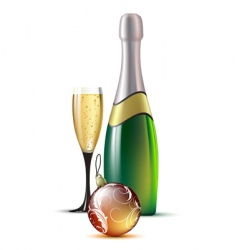 Champagne with fir ball vector