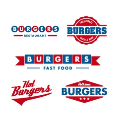 Vintage fast food restaurant logo set vector