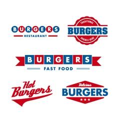 Vintage fast food restaurant logo set vector