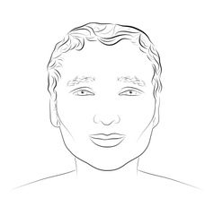 Ink drawing of young attractive male face vector