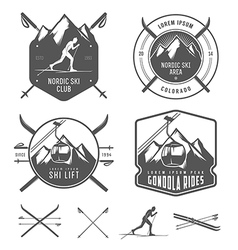 Set of nordic skiing design elements vector