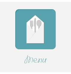 Silver fork knife spoon napkin icon menu cover vector