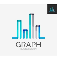 Minimal line design logo chart graph icon vector