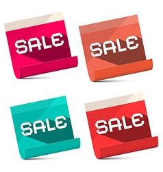 Sale titles on notebook bent paper sheets set - vector