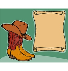 Western background with cowboy boots and hat color vector