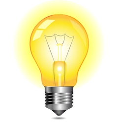 Glowing yellow light bulb vector