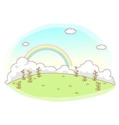Rainbow sky landscape vector