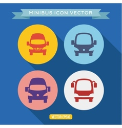 Logo icon buses into a flat vector