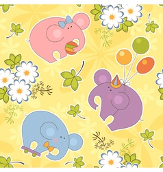Floral and animal seamless baby pattern vector